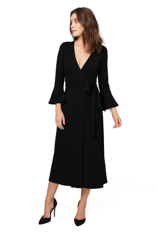 Luxe Rib Wrap Dress - Black