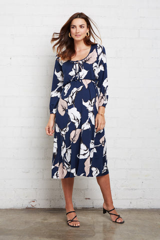 Margo Dress - Navy Calla Print, Maternity