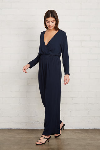 Pucker Rayon Lazarus Jumpsuit - Midnight