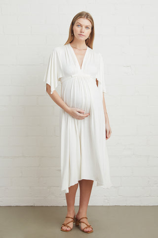 Mid-Length Caftan - White, Maternity