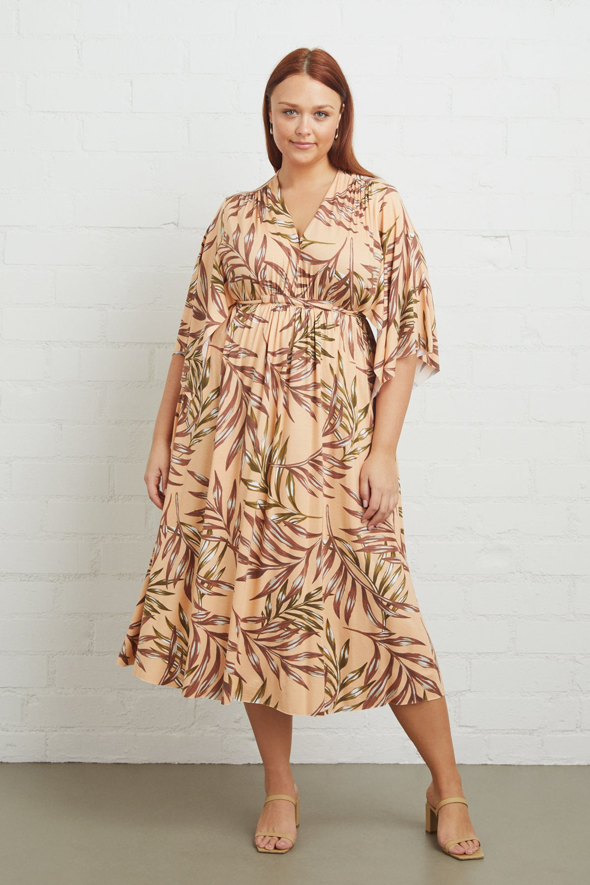 Mid-Length Caftan Dress - Palm, Plus Size