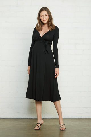 Mid-Length Harlow Dress - Black, Maternity