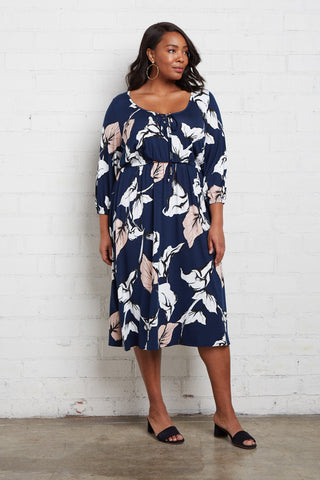 Margo Dress - Navy Calla Print, Plus Size