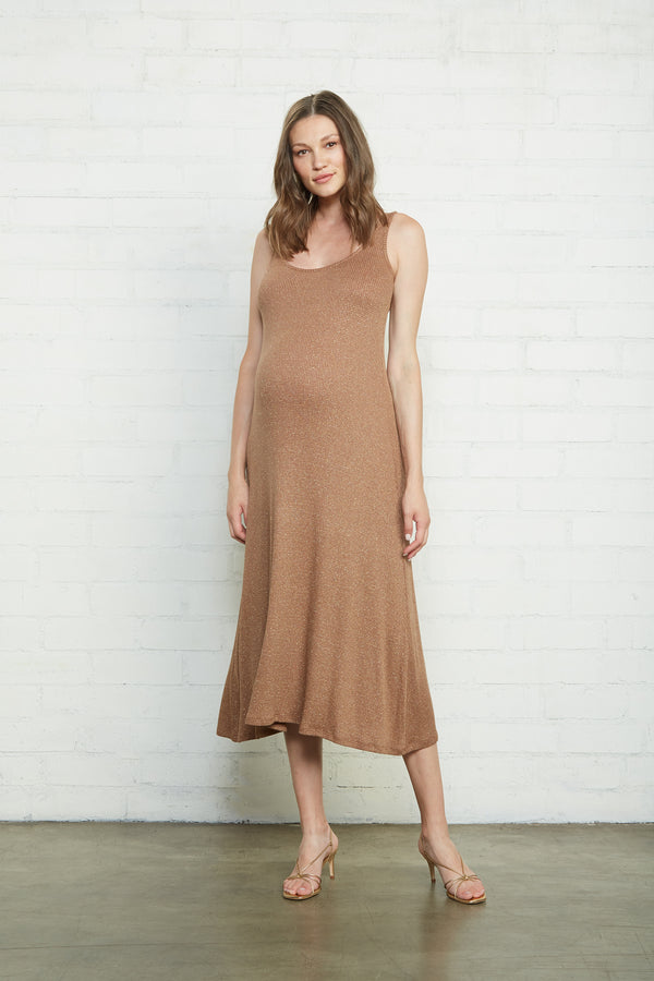 Metallic Rib Fiona Dress - Maternity
