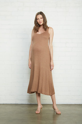 Metallic Rib Fiona Dress - Caramel Gold, Maternity