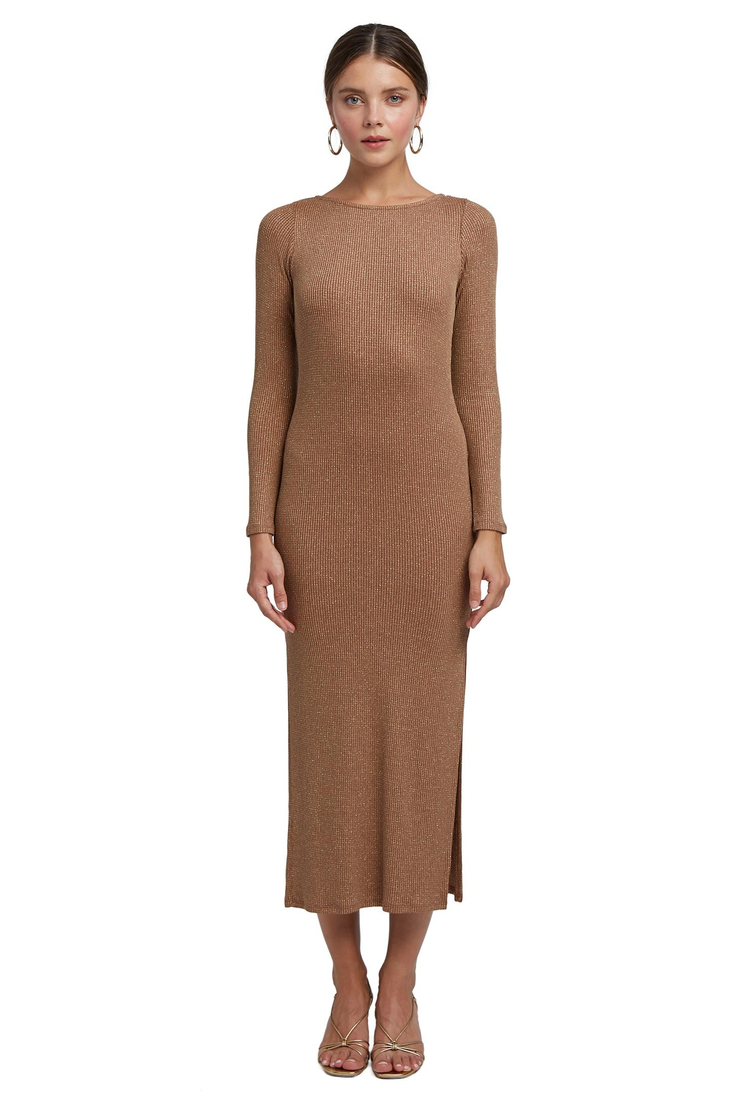 Metallic Rib Joan Sweater Dress - Caramel Gold