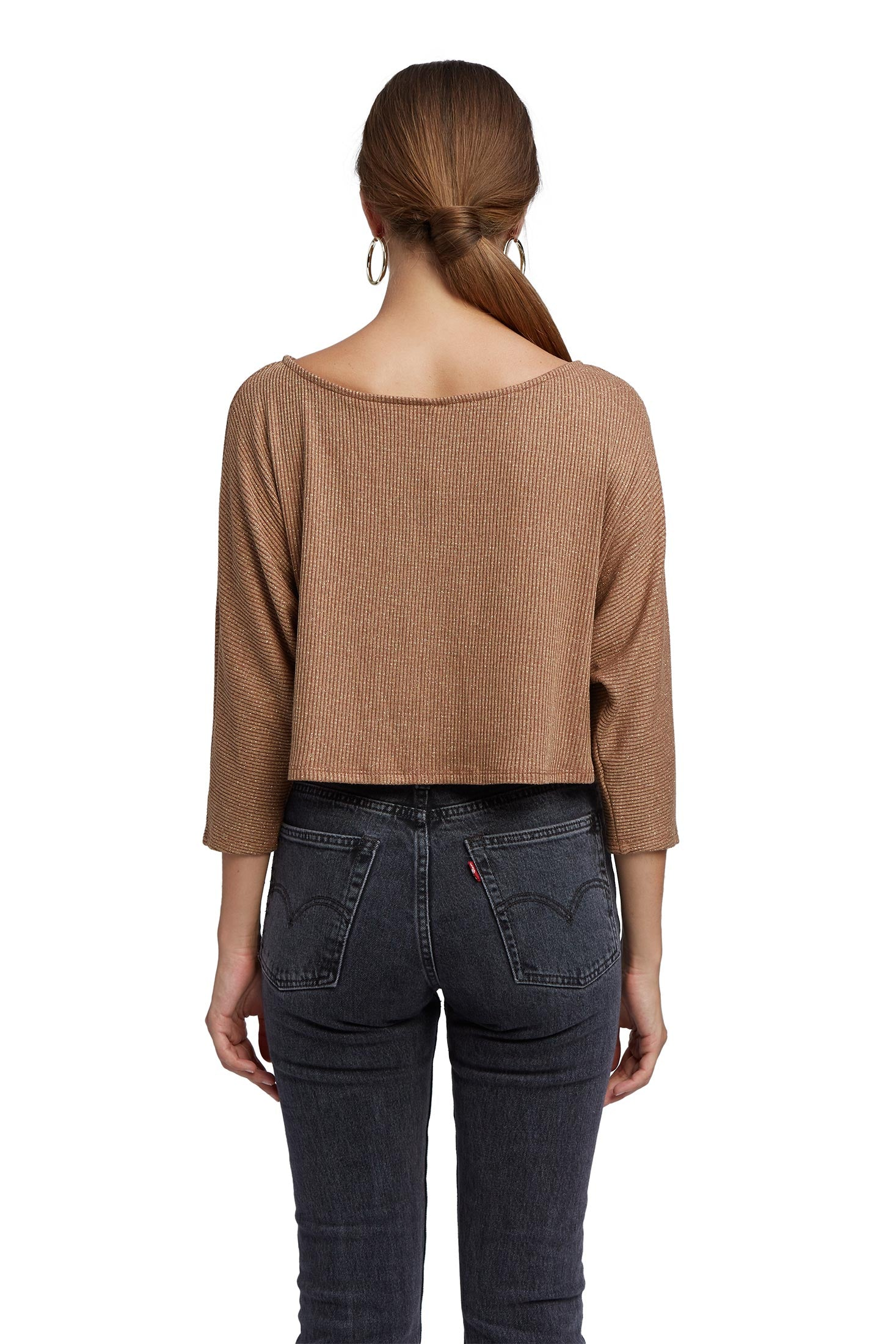 Metallic Rib Lilia Sweater - Caramel Gold