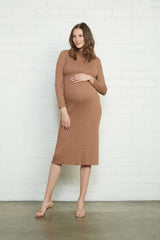 Metallic Rib Mara Dress - Caramel Gold, Maternity
