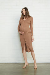 Metallic Rib Snap Front Dress - Caramel  / Gold, Maternity