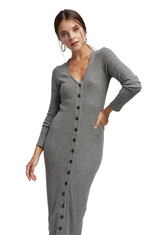 Metallic Rib Sweater Dress - Charcoal Gold