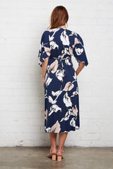 Mid-Length Caftan Dress - Navy Calla Print, Maternity