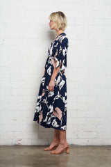Mid-Length Caftan Dress - Navy Calla Print