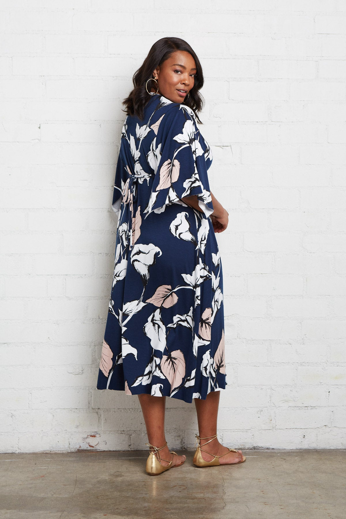 Mid-Length Caftan Dress - Navy Calla Print, Plus Size
