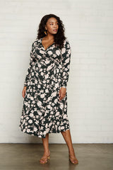 Mid-Length Harlow Dress - Evergreen Floral, Plus Size