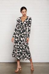 Mid-Length Harlow Dress - Evergreen Floral