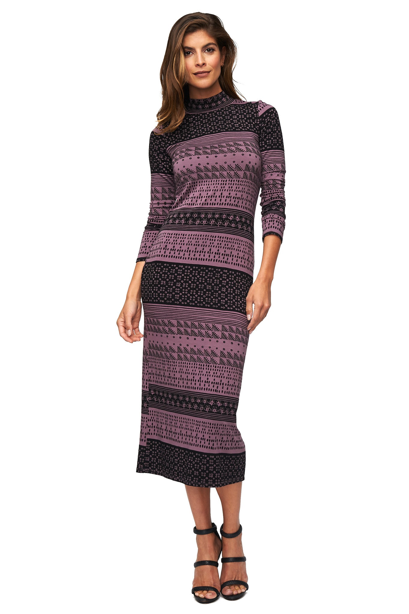 Mid-Length Stella Dress - Black Block Print