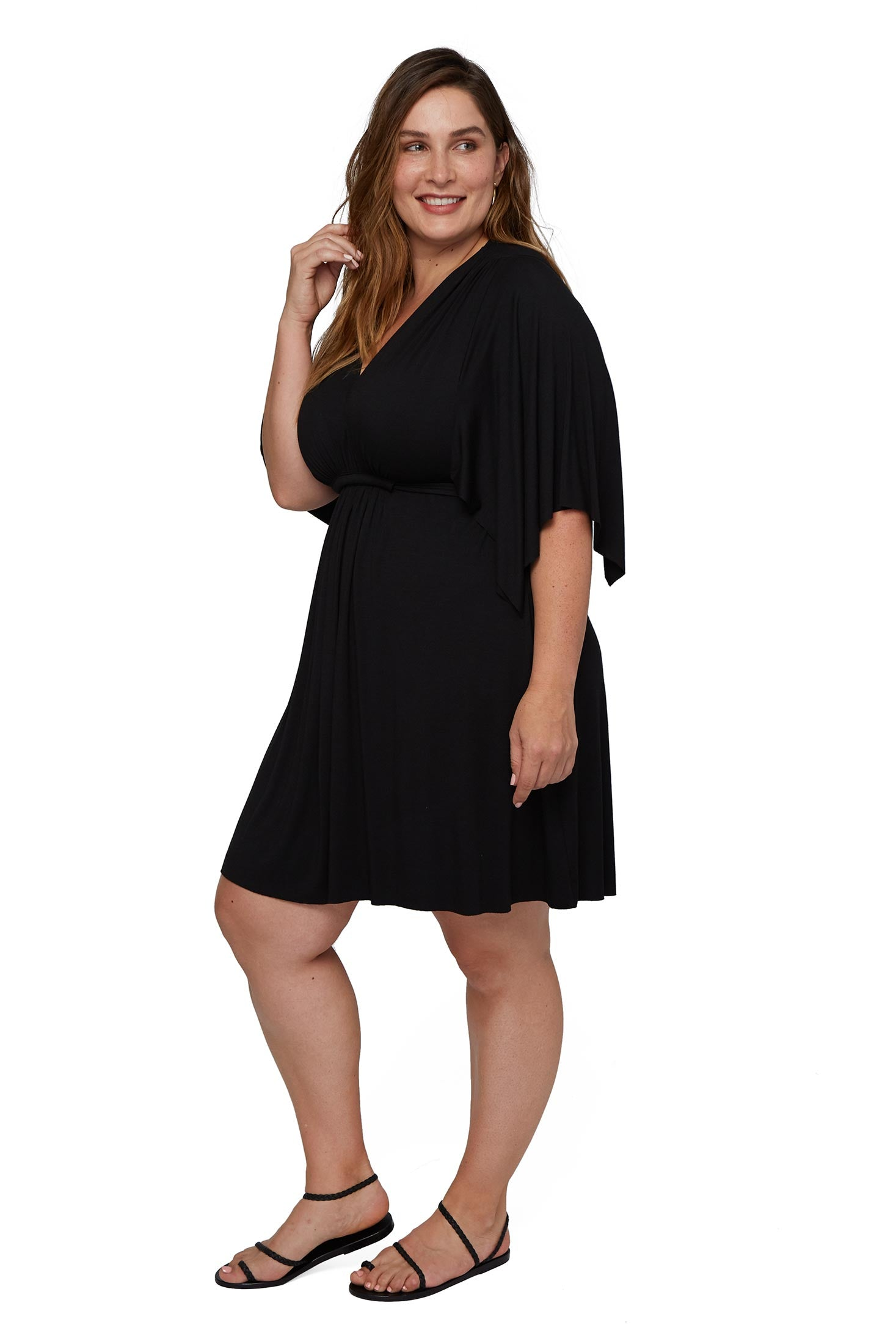 Mini Caftan - Black, Plus Size
