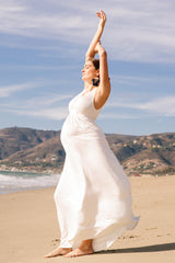 LONG SLEEVELESS CAFTAN DRESS - WHITE