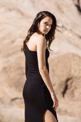 Luxe Rib One Shoulder Dress - Black