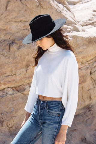 Luxe Rib Cropped Turtleneck Top - Ivory