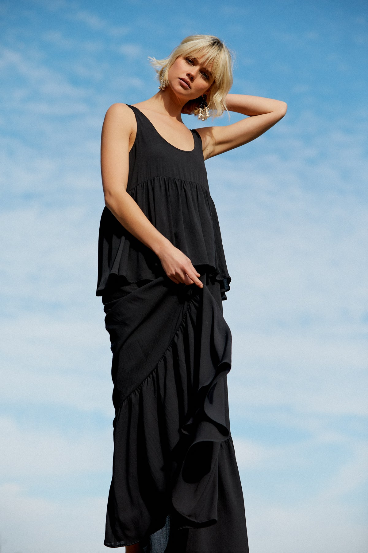 Crepe Chiffon Maude Dress - Noir