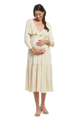 Nadine Wrap Dress - Cream, Maternity