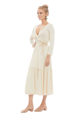 Nadine Wrap Dress - Cream