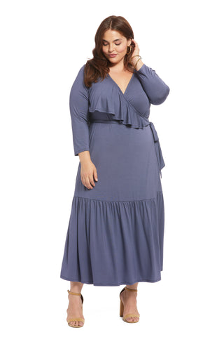 Nadine Wrap Dress - Slate, Plus Size