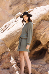 PIQUE SLOUCHY BELTED DRESS- OLIVE