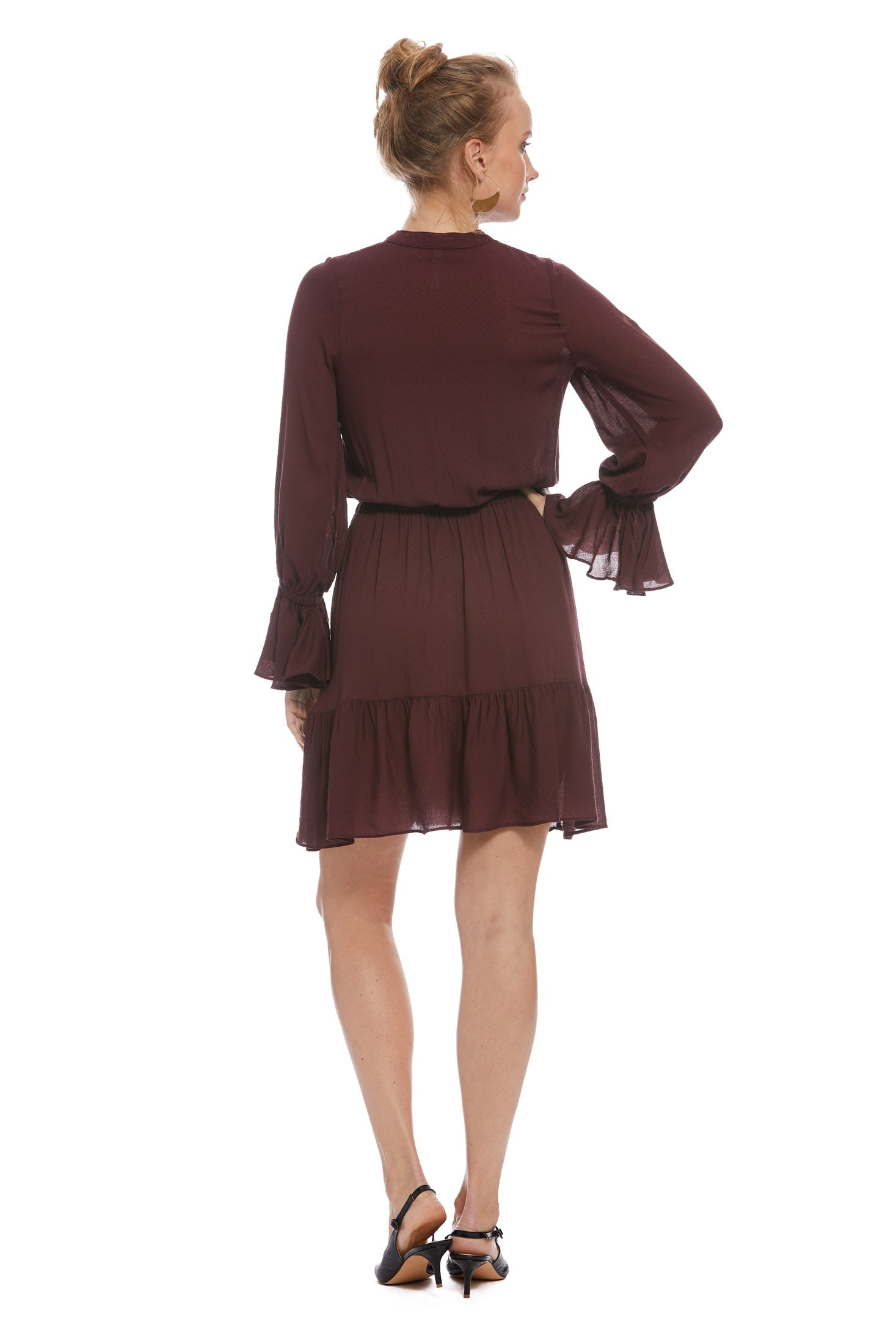 Pointelle Rayon Amaya Dress - Merlot