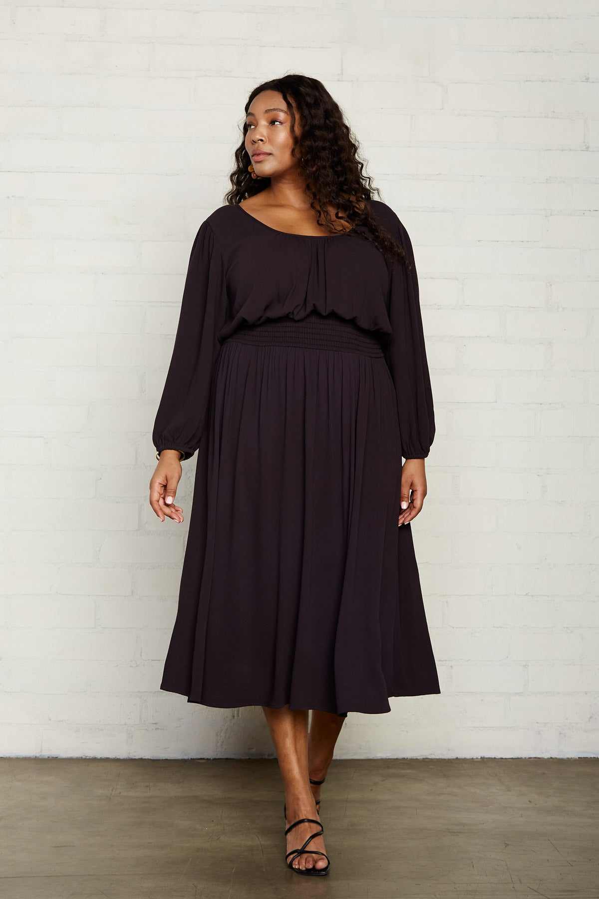 Pucker Rayon Edith Dress - Faded Black, Plus Size