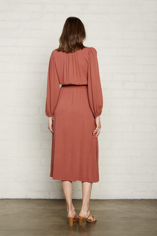 Pucker Rayon Edith Dress - Rosewood, Maternity