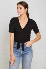 Rib Wrap Top - Black