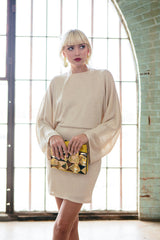Lenah Sweater Dress - Natural / Gold