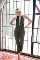 Halter Sweater Jumpsuit - Black / Gold
