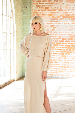Seaton Sweater Dress - Natural / Gold