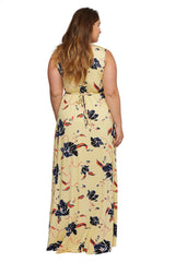 Long Sleeveless Caftan Dress WL Print - Tulip