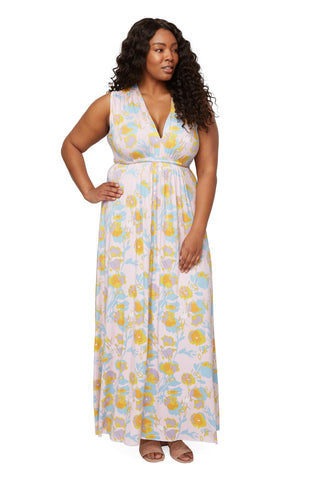 Long Sleeveless Caftan - Garden, Plus Size