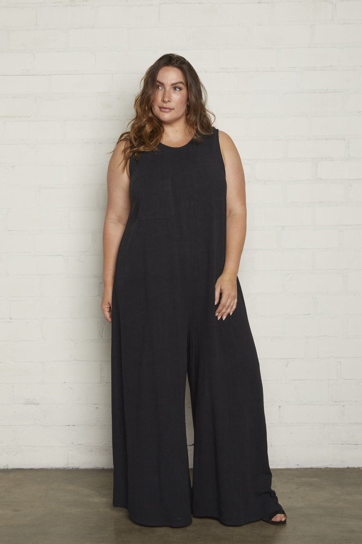 Linen Cortez Jumpsuit - Black, Plus Size