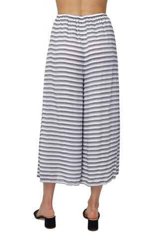 Rayon Cropped Pant - Blue/ White Stripe