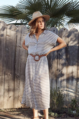 Rayon Shirt Dress - Blue/ White Stripe
