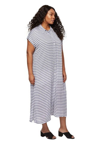 Rayon Shirt Dress - Blue / White Stripe, Plus Size