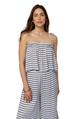 Rayon Spaghetti Tie Top - Blue/ White Stripe