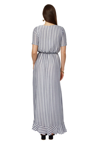 Rayon Wrap Dress - Blue/ White Stripe