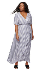 Rayon Wrap Dress - Blue / White Stripe, Plus Size