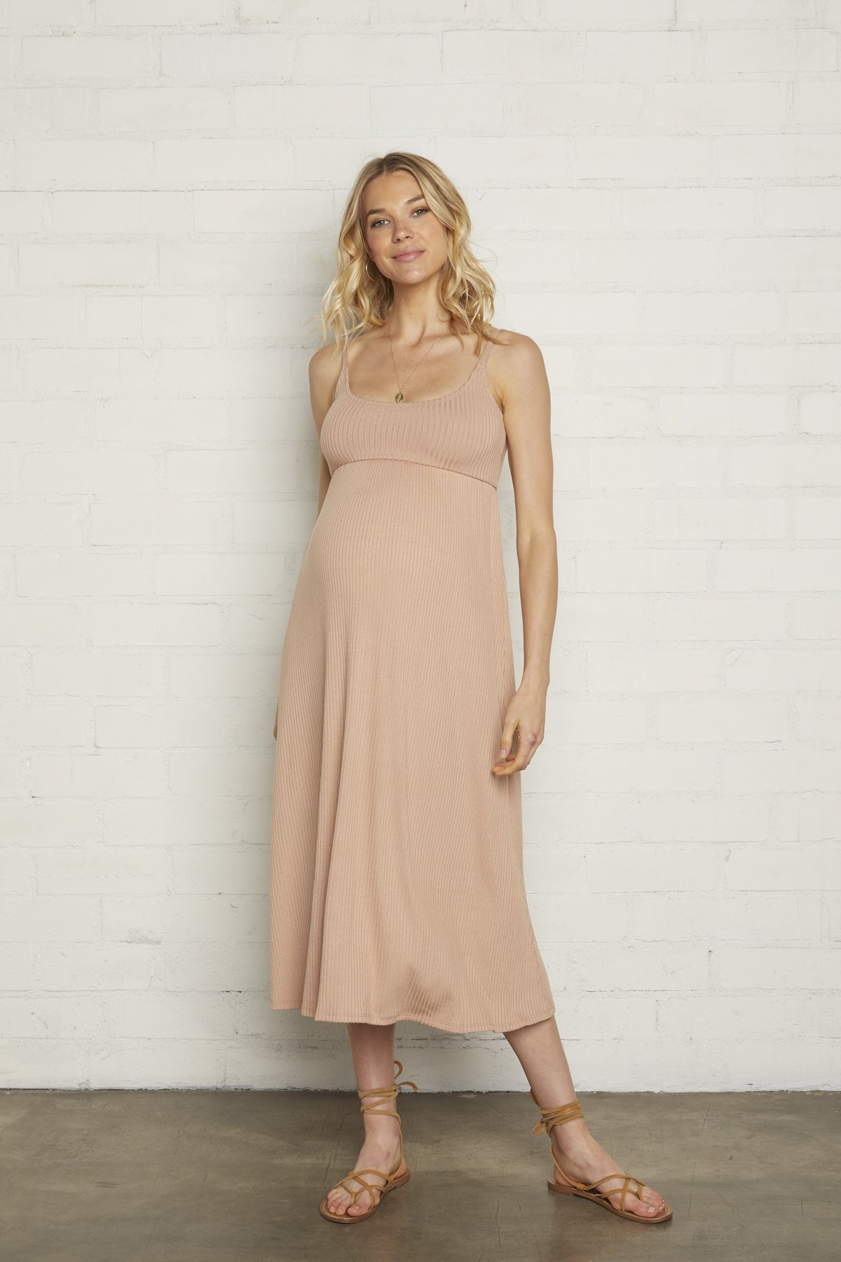Rib Bellatrix Dress - Maple Sugar, Maternity