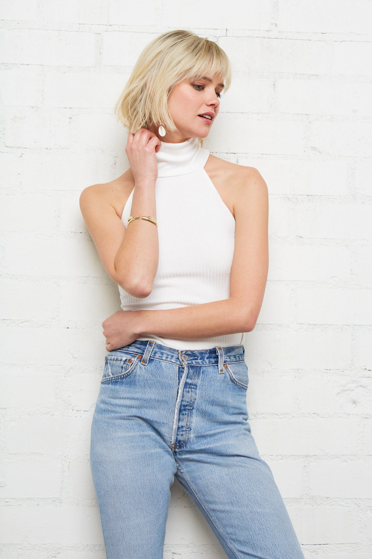 Rib Chloe Top - White