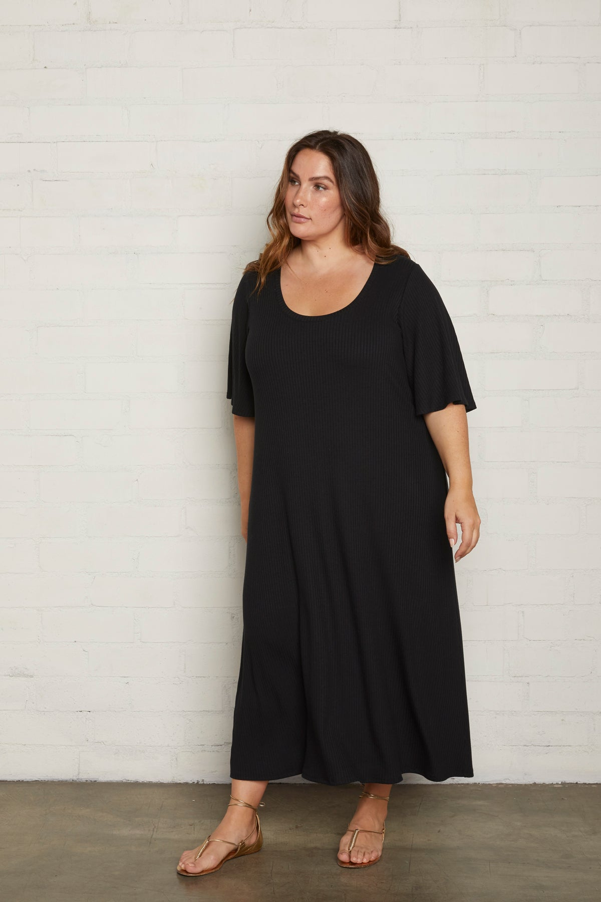 Rib Felice Dress - Black, Plus Size