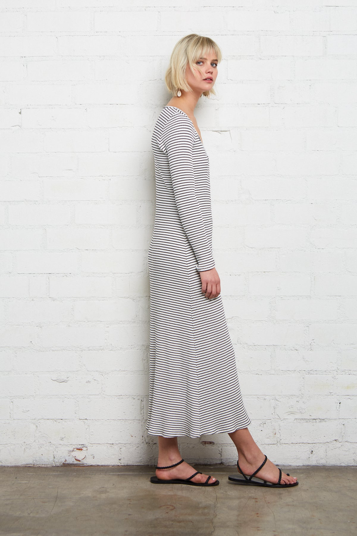 Lorelei Dress - Black / White Stripe