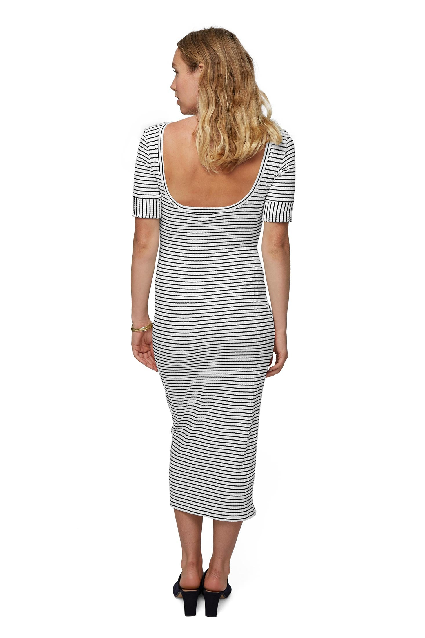Rib Noelle Dress - Black / White Stripe, Maternity